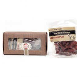 This savoury biltong box hamper consists of biltong and dry wors. It is suitable for anyone who loves biltong, and it makes a great gift too. Birthdays, Get well Soon, Condolence, National Delivery