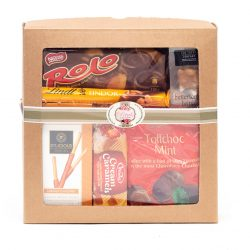 This Chocolate and Toffee Hamper consists of chocolates and sweet treats. Definitely one for the chocolate lover. Hampers delivered throughout South Africa.
