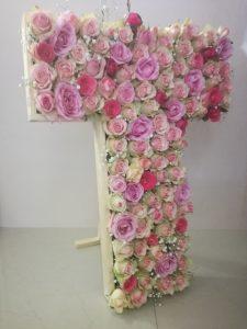 Letter T in Roses