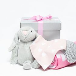 Our Bunny Surprise Box Girl consists of a soft bunny, knitted face cloth, a baby bib and a warm baby blanket. This makes a great gift. Birth of a Baby, Birthday, Gift