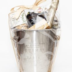 Our Champagne Savoury and Sweet Hamper has got a Pierre Jordan Tranquille Blush Sparkling Wine, an engraved champagne cooler and sweet and savoury snacks.